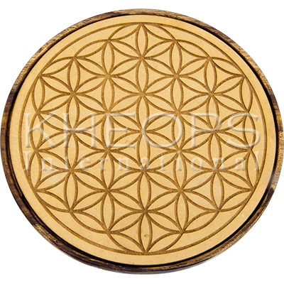 Wood Crystal Grid Flower Of Life 5 75 Di Plateau Pour Cristaux En Bois